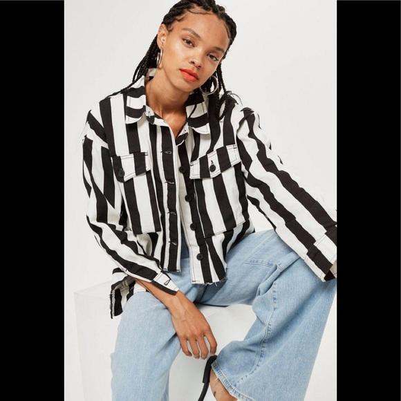 d06d13b5cd3a Topshop Jackets & Coats   Denim Striped Jacket Shacket Nwot   Poshmark